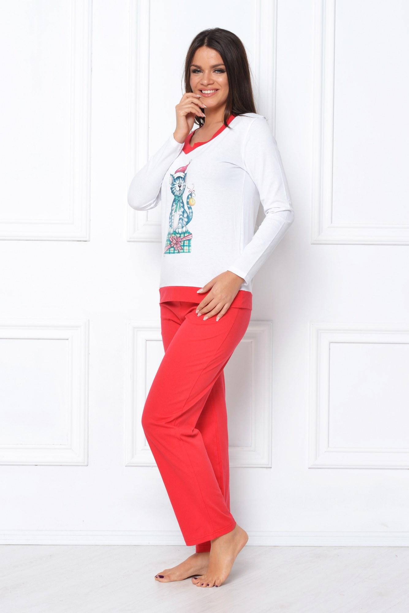 Pijama rosu-alb cu imprimeu pisica