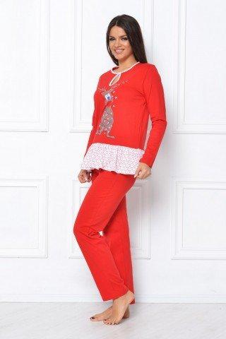 Pijama rosie cu imprimeu ren