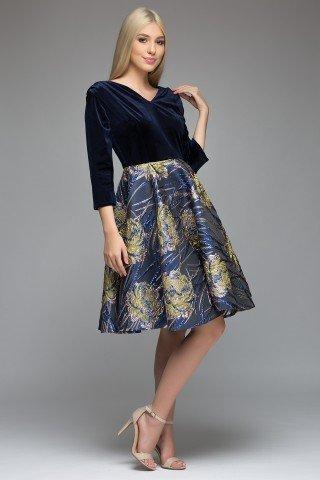 Rochie de ocazie catifea si jacquard albastra