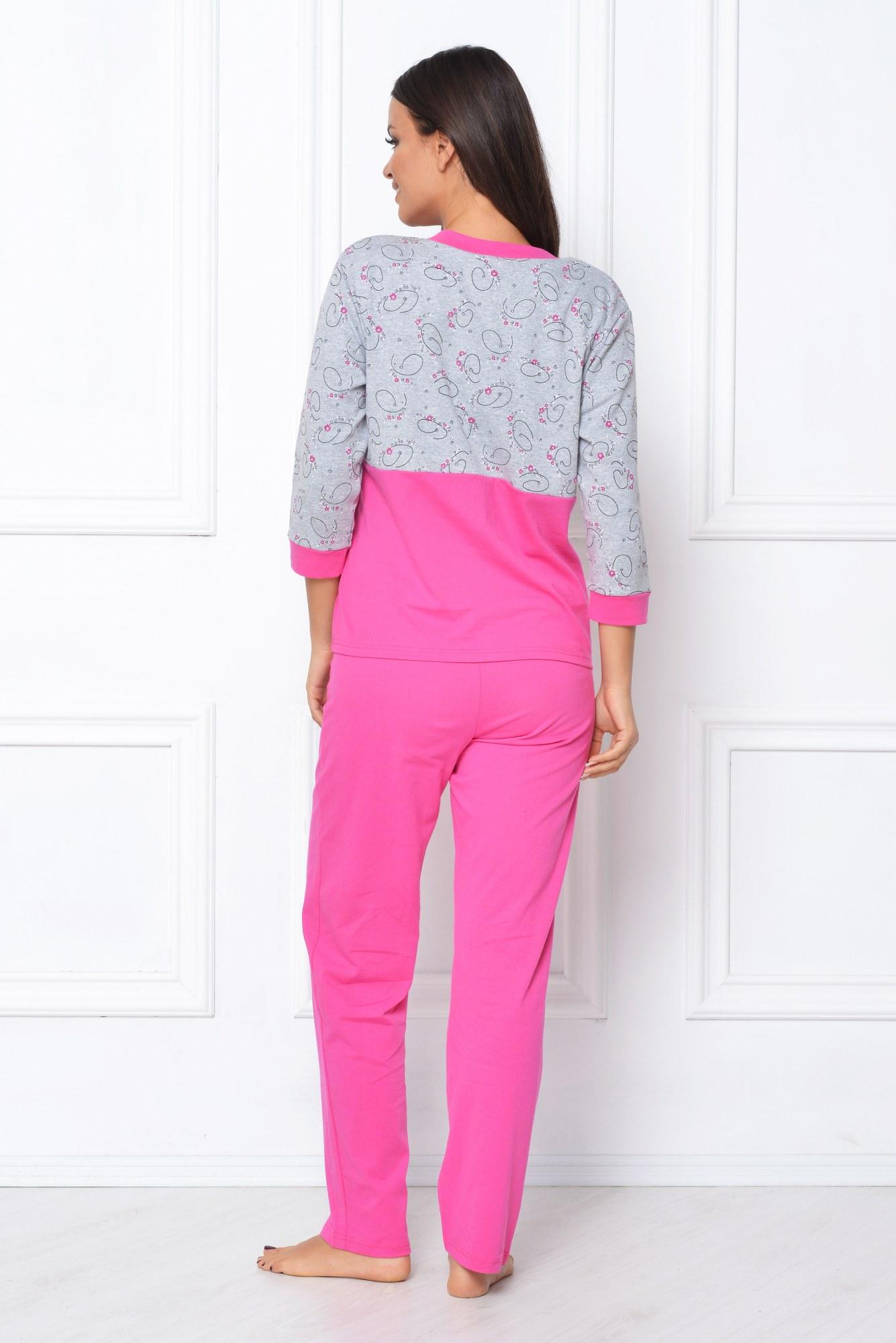 Pijama roz-gri cu imprimeu
