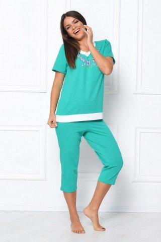 Pijama verde turcoaz cu imprimeu