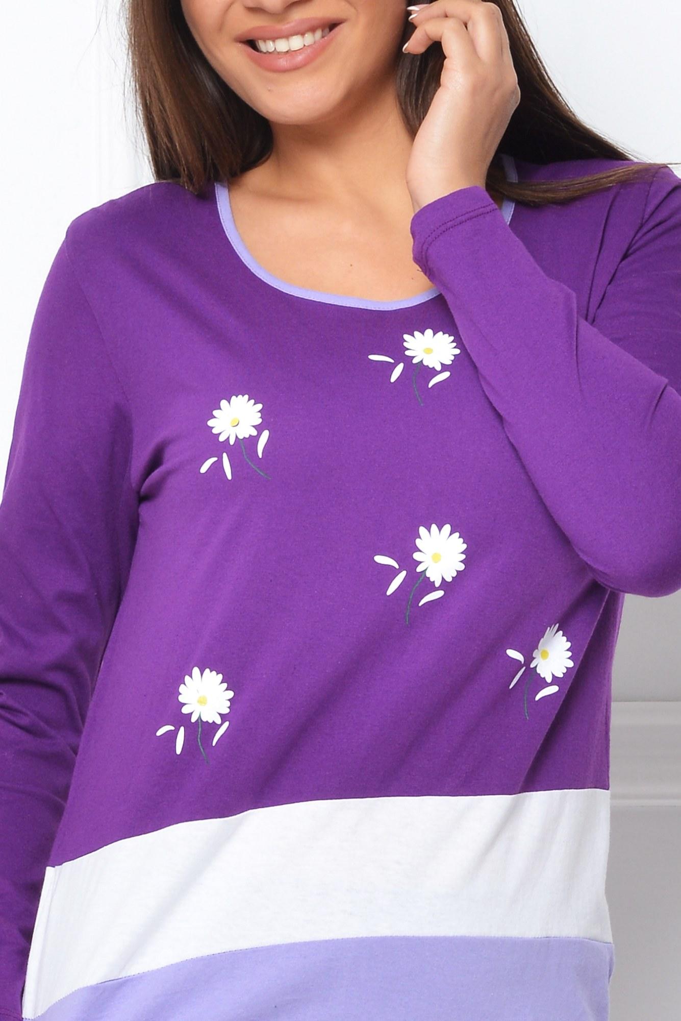 Pijama mov cu imprimeu floral