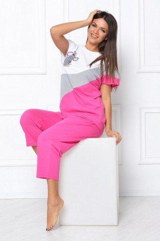 Pijama roz cu imprimeu elefant