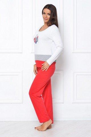 Pijama rosu-alb cu imprimeu floral