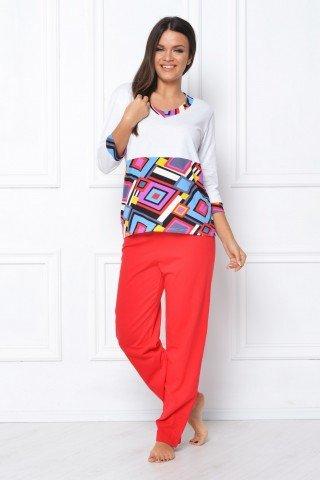 Pijama rosu-alb cu romburi