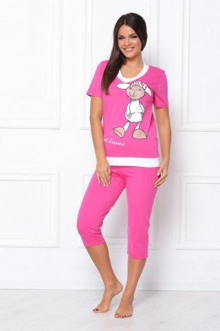 Pijama roz cu imprimeu oita