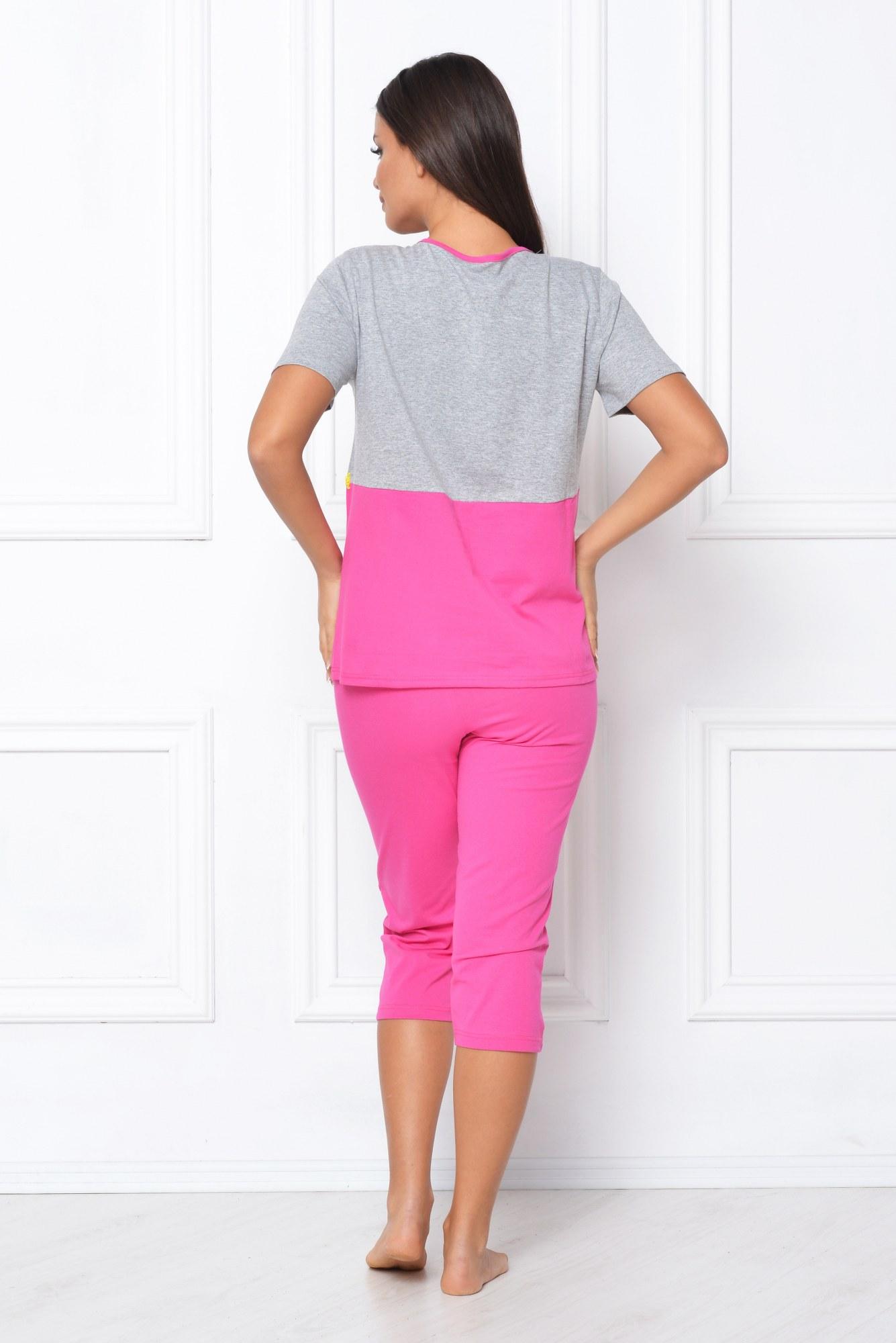 Pijama roz-gri cu broderie galbena