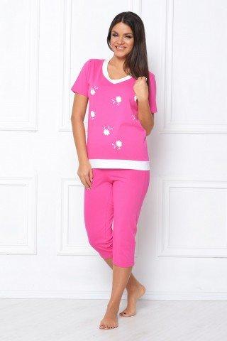 Pijama roz cu imprimeu floral
