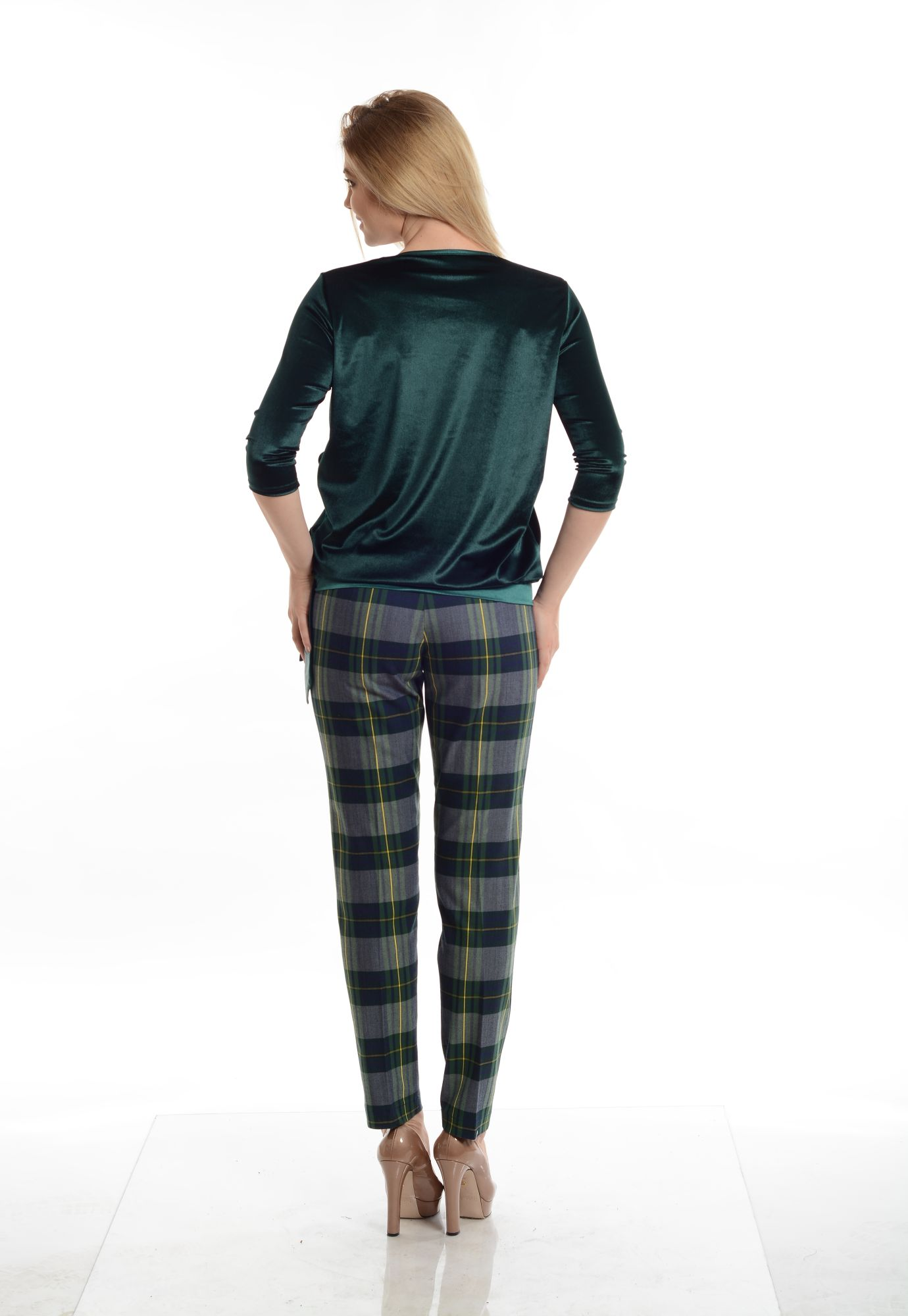 Pantaloni Eranthe denim cu imprimeu in carouri