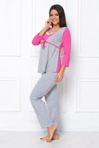 Pijama gri-roz cu snur