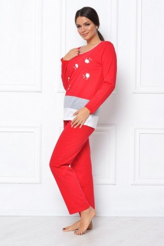 Pijama rosie cu imprimeu floral