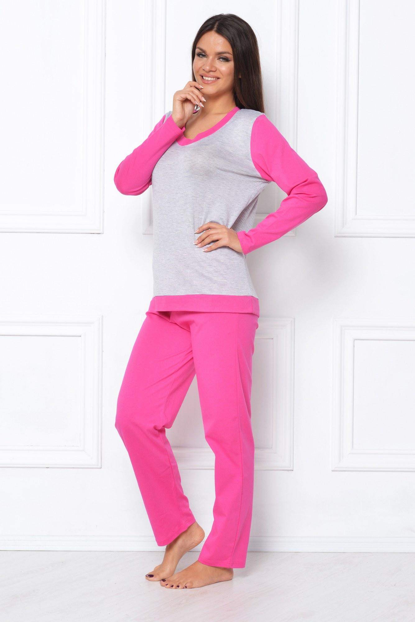 Pijama roz-alb cu dungi