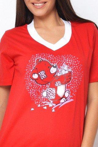 Pijama rosie cu imprimeu ursulet
