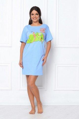 Camasa de noapte bleu cu imprimeu elefant