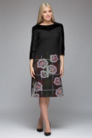 Rochie midi din stofa si catifea
