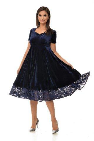 Rochie de ocazie din catifea albastra si dantela