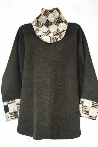 Poncho lana negru