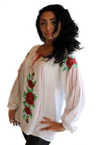 Ie Traditionala Romaneasca brodata cu motiv trandafiri