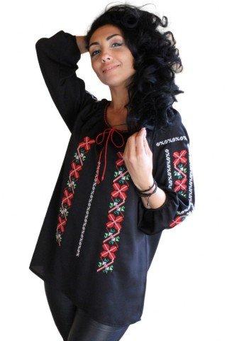 Ie Traditionala Romaneasca neagra brodata
