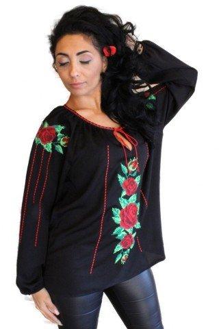 Ie Traditionala Romaneasca brodata neagra cu motiv trandafiri
