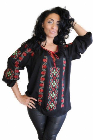 Ie Traditionala Romaneasca neagra brodata cu motive geometrice