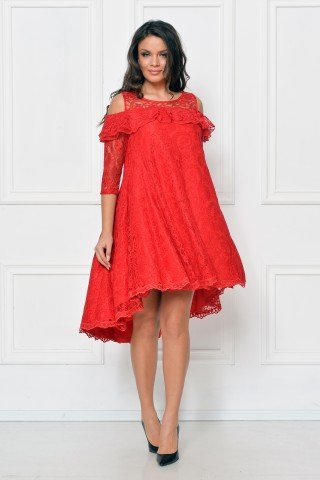 Rochie de ocazie din dantela rosie cu trena