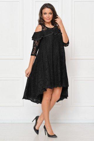 Rochie de seara din dantela neagra cu trena