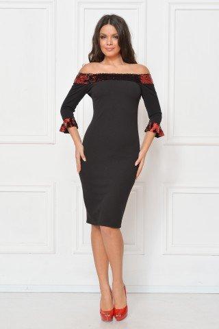 Rochie de seara cu paiete reversibile rosu-negru
