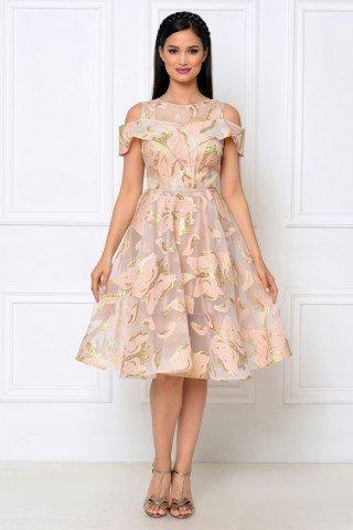 Rochie eleganta din organza brodata cu fluturi roz-auriu