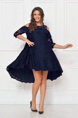 Rochie de seara din dantela albastra cu trena