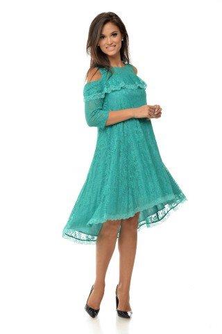 Rochie de ocazie din dantela albastru turcoaz cu trena