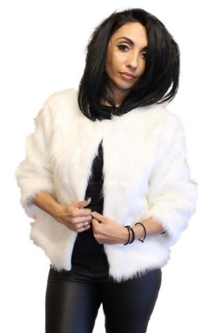 Bolero alb din blana artificiala