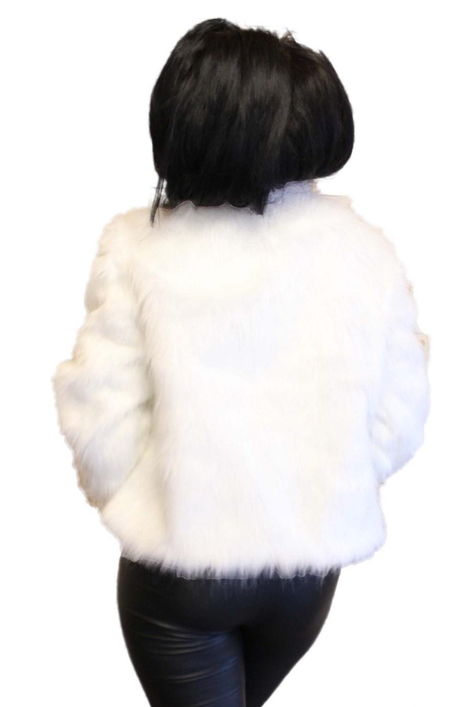 Bolero alb ivoar din blana artificiala